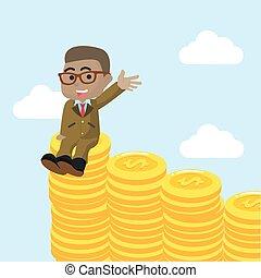 afrikaan, zakenman, het genieten van, op, stapel, van, munt