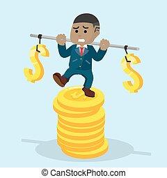 afrikaan, zakenman, stabiliseren, op, stapel, van, munt
