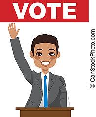 afrikaanse amerikaan, politicus, geven, toespraak