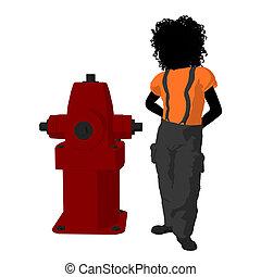 afrikaanse amerikaanse tiener, brandweerman, illustratie, silhouette