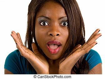 afrikaanse amerikaanse vrouw, verwonderd, over, iets