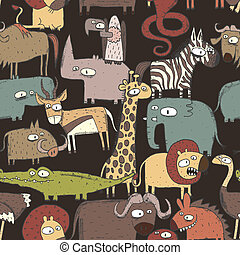 afrikai, állatok, seamless, motívum