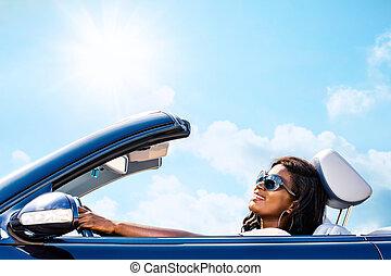 afrikai, convertible., nő, vezetés, csinos