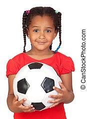 afrikai, kicsi lány, noha, egy, focilabda