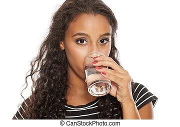 afrikai, leány, ivóvíz, alapján, egy, pohár