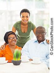 afrikai, nagyszülők, és, lányunoka