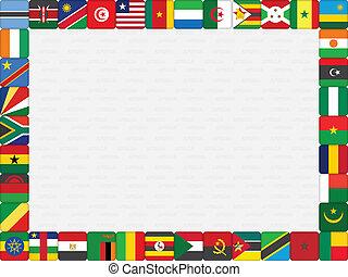 afrikai, országok, lobogó, ikonok, keret