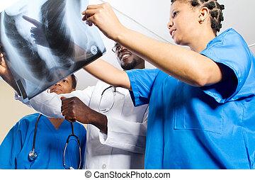 afrikai, orvosok, külső at, x ray