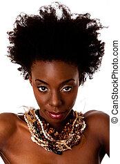 afrikai, törzsi, szépség, arc