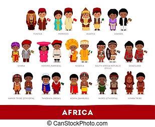 afrikaiak, alatt, nemzeti, clothes.