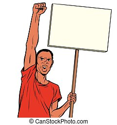 Afrikan man protests with a poster. Isolate on white background