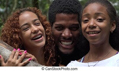 afrikanisch, friends, oder, familie