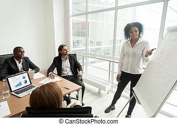 afrikanisch, geschäftsfrau, geben, darstellung, besprechen, marketing, r