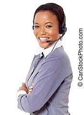 afrikanisch, geschäftsruf, zentrieren, bediener