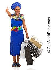 afrikanisch, käufer, geben, daumen