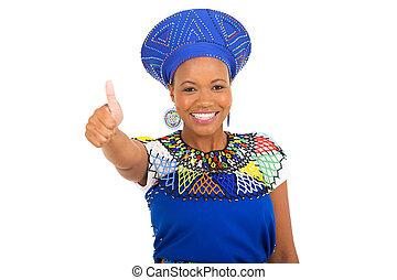 afrikanisch, m�dchen, geben, daumen