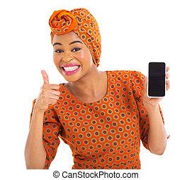 afrikanisch, m�dchen, halten zelle telefons, und, daumen