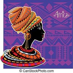 afrikanisch, porträt, frau, turban, ethnisch