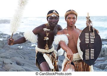 afrikanisch, sandstrand, zulu, mann