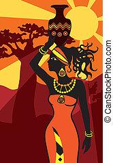 afrikanisch, schöne frau, an, sonnenuntergang