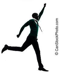 afrikanisch, schwarzer mann, rennender , glücklich, silhouette