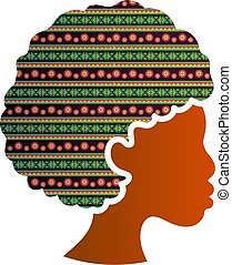 afrikanisch, silhouette, frau, freigestellt, amerikanische , profil, ikone, gesicht