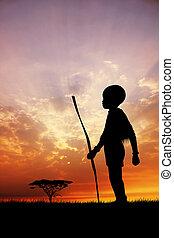afrikanisch, sonnenuntergang, kind