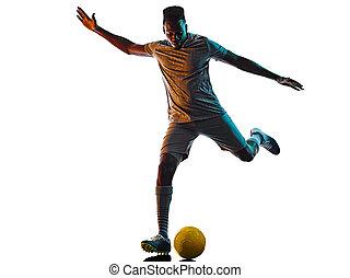 afrikanisch, spieler, fußball, silhouette, weißes, mann, hintergrund, freigestellt, junger, schatten
