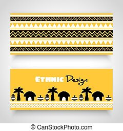 afrikanisch, stammeskunst, banner