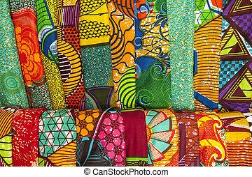 afrikanisch, stoffe, von, ghana, west afrika