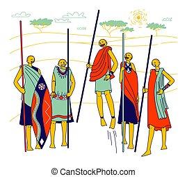 afrikanisch, traditionelle , masai, frauen, kostüme, linear...