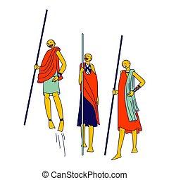afrikanisch, traditionelle , springende , masai, bewaffnet, ...