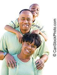 afrikanische amerikanische familie, freigestellt, weiß