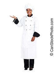 afrikanische amerikanische frau, küchenchef
