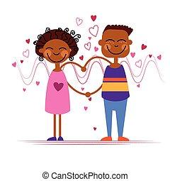 afrikanische amerikanische paare, halten, herz- form, liebe