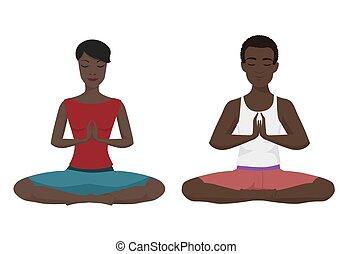 afrikanische amerikanische paare, joga, vektor, illustration., schneidersitz, isolated.
