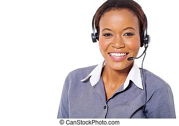 afrikanischer amerikaner, anruf- mitte, bediener, mit, kopfhörer