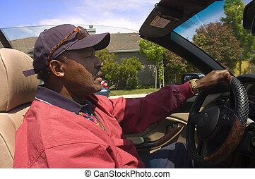 afrikanischer amerikaner, fahren, auto