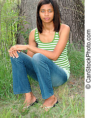 afrikanischer amerikaner, female.