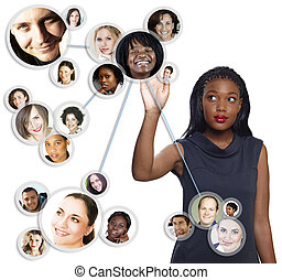afrikanischer amerikaner, geschäftsfrau, sozial, vernetzung