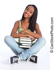 afrikanischer amerikaner, jugendlich, schule- mädchen, mit, buecher