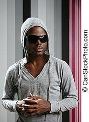 afrikanischer amerikaner, junger, schwarzer mann, klopfen