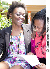 afrikanischer amerikaner, studenten, genießen, kursteilnehmer- leben