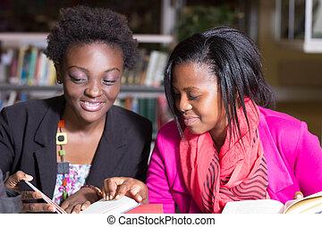 afrikanischer amerikaner, studenten, portion, mit, aufgabe