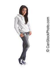 afrikanischer amerikaner, teenagermädchen, in, jeans, und, hoodie