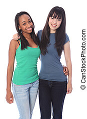 afrikanischer amerikaner, und, japanisches , teenagermädchen, friends