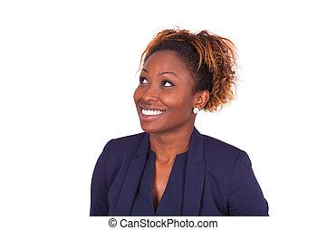 afrikanischer amerikaner, unternehmerin, oben schauen