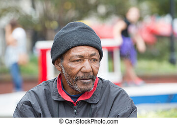 afrikanischer amerikaner, wohnungslose, mann