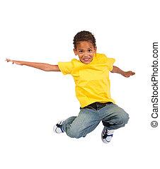 afrikanischer amerikanischer junge, springende