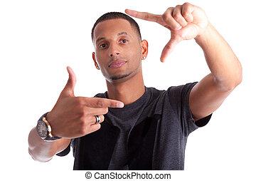 afrikanischer amerikanischer mann, machen, rahmen, zeichen, mit, seine, hände